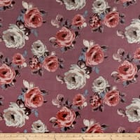 Rayon Spandex Jersey Knit Roses Gray on Mauve