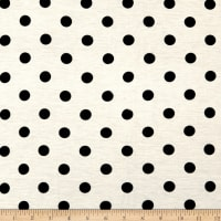 Rayon Spandex Jersey Knit Dots White/Black