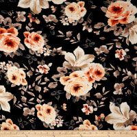 Rayon Spandex Jersey Knit Floral Rust on Black