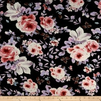 Rayon Spandex Jersey Knit Floral Lilac on Black