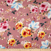Rayon Spandex Jersey Knit Floral Taupe on Pink
