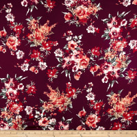 Rayon Spandex Jersey Knit Bouquet Red/Burgundy