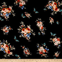 Rayon Spandex Jersey Knit Floral Coral/Blue on Black