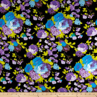 Rayon Spandex Jersey Knit Watercolor Floral Purple/Blue/Black