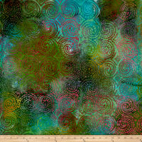 Aztec Swirl Circle Dots Batik Green/Gold/Teal