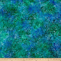Floral Vine Swirl Batik Lt Blue/Purple/Green