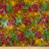 Swirl Splash Batik Wine/Green/Gold