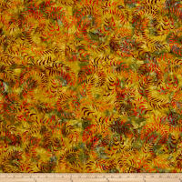 Sweeping Vine Batik Gold/Orange/Brown