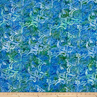 Abstract Floral Batik Blue/Green