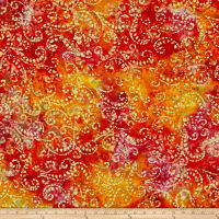 Scroll Batik Orange/Yellow/Pink
