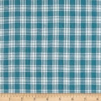 Yarn Dyed Shirting Small Plaid Surf Blue/White