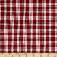 Yarn Dyed Shirting Small Plaid Wine/White