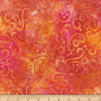 Wilmington Batiks Floral Patchwork Orange/Red