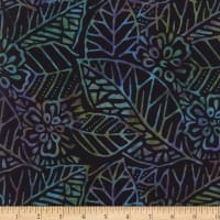Wilmington Batiks Leaf and Flower Mix Gray/Blue