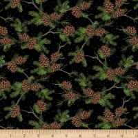 Wilmington Royal Red Pinecones Black