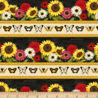 Wilmington Sunset Blooms Repeating Stripe Multi