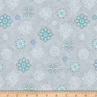 Wilmington Arctic Wonderland Snowflake Toss Light Gray