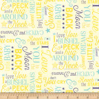 Wilmington To The Moon and Back Flannel Words Yellow