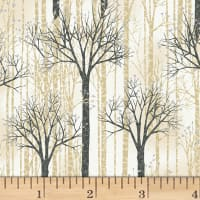 Hoffman Baby It's Cold Outside Birch Trees Metallic Birch/Silver