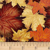 Hoffman Can't Stop Falling Packed Leaves Metallic Autumn/Gold