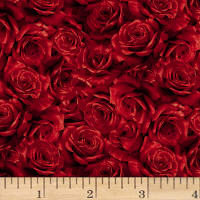 Hoffman Cardinal Carols Packed Roses Metallic Red/Gold