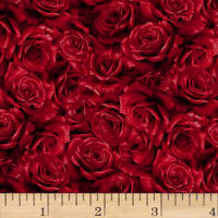 Hoffman Cardinal Carols Packed Roses Metallic Crimson/Silver