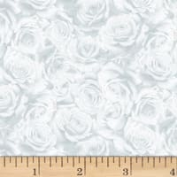 Hoffman Cardinal Carols Packed Roses Metallic Frost/Silver