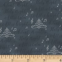 Hoffman Cardinal Carols Silent Night Words Metallic Charcoal/Silver