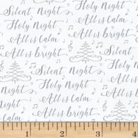 Hoffman Cardinal Carols Silent Night Words Metallic Fog/Silver