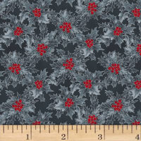 Hoffman Cardinal Carols Holly Metallic Charcoal/Silver