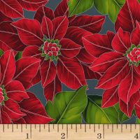 Hoffman Poinsettia Song Large Poinsettias Metallic Charcoal/Silver