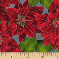 Hoffman Poinsettia Song Large Poinsettias Metallic Storm/Silver