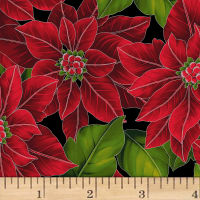 Hoffman Poinsettia Song Large Poinsettias Metallic Onyx/Silver