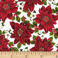 Hoffman Poinsettia Song Spaced Poinsettias Metallic Frost/Silver