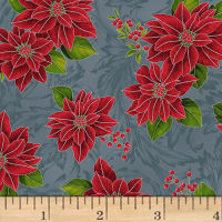 Hoffman Poinsettia Song Poinsettias On Fleur Scroll Metallic Storm/Silver