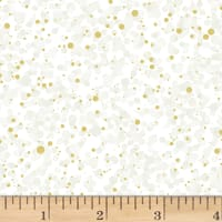Hoffman Poinsettia Song Random Dots Metallic Ivory/Gold