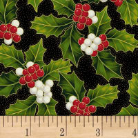 Hoffman Poinsettia Song Holly Metallic Black/Gold