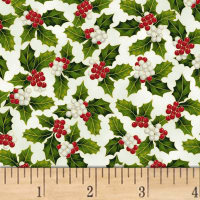 Hoffman Poinsettia Song Holly Metallic Ivory/Gold