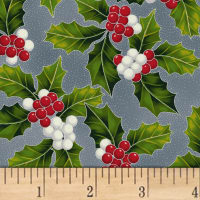 Hoffman Poinsettia Song Holly Metallic Storm/Silver