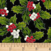 Hoffman Poinsettia Song Holly Metallic Onyx/Silver