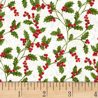 Hoffman Poinsettia Song Holly Berries Metallic Ivory/Gold