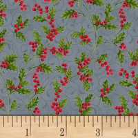 Hoffman Poinsettia Song Holly Berries Metallic Storm/Silver