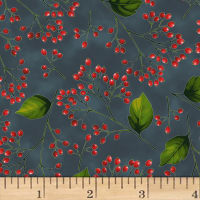 Hoffman Poinsettia Song Berry Branches Metallic Charcoal/Silver