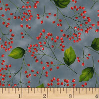 Hoffman Poinsettia Song Berry Branches Metallic Storm/Silver