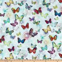 "Hoffman Digital 104"" Wide Back Butterflies Opal"