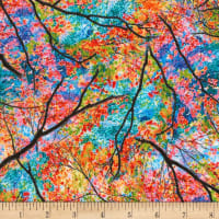Timeless Treasures Electric Nature Spring Trees Bright