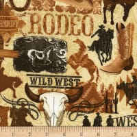 Timeless Treasures Wild Wild West Collage Vintage