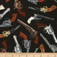 Timeless Treasures Wild Wild West Tossed Revolvers Black