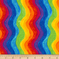 Timeless Treasures Crayon Party Rainbow Squiggle Multi