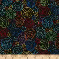 Timeless Treasures Crayon Party Swirls & Stars Black